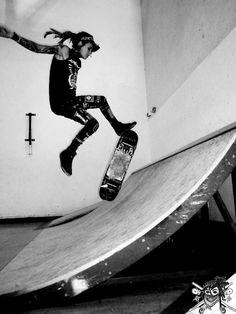 Female punk skateboarder