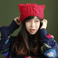 Women Horns Cat Ear Crochet Braided Knit Ski Beanie Wool Hat Cap