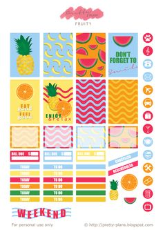 Free Printable Fruity Planner Stickers from Pretty Plans