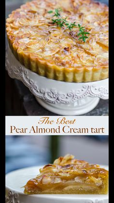 French Pear and Almond Cream Tart - Dessert Time Pear Dessert Recipes, Pear Recipes, French Desserts, Just Desserts, Sweet Recipes, Baking Recipes, Recipes With Pears, Oreo Desserts, Oven Recipes