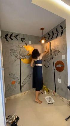 Wall Painting Decor, Mural Wall Art, Diy Wall Art, Diy Wall Decor, Tape Wall Art, Diy Crafts For Home Decor, Wall Drawing, Home Room Design, Diy Canvas Art