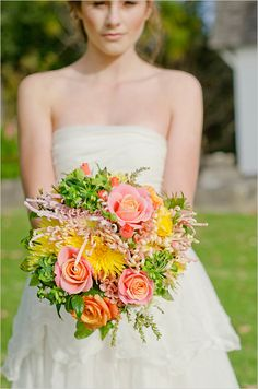bright pastel wedding bouquet! The roses are amazing! Replace the green stuff with white hydrangeas with pink on the ends and a purple dahlia