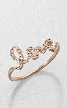 'love' ring in rose gold