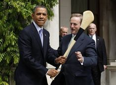 This photo of Obama with a hurl.   The 24 Most Irish Things Ever