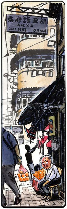 Michael Sloan - Hong Kong portraits : @ Yau Ma Tei, Mido Cafe in the background