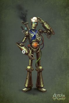 """Character concept for the game """"Azada In Libro"""". More characters from the game: Azada - robot sailor Character Concept, Character Art, Concept Art, Character Design, Steampunk Robots, Steampunk Theme, Steampunk Drawing, Neo Victorian, Punk Art"""