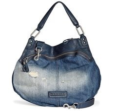 Liebeskind Berlin Womens 2014 Spring Summer Made in Denim Finds - Vega Elephant Denim Jeans Leather Mix Handbag - Fashion Style
