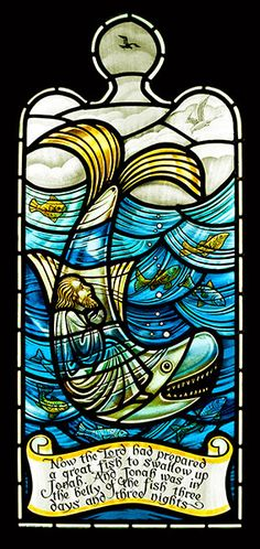 Jonah and the Whale, stained glass, at St James' Church, Crossroads, nr Haworth… Stained Glass Mosaic, Glass Painting, Glass Design, Stained Glass Church, Jonah And The Whale, Fused Glass, Christian Art, Glass Art