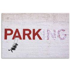 ACHICA | BANKSY - No Parking Swinging Girl, Canvas Wall Art, 60 x 50 cm