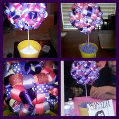 6 in. styrofoam craft ball on a dowel painted pink, pushed into a foam cube inside a flower pot (or whatever base of your choosing) covered with colored gift papershreds. I used this color scheme for a Tangled Birthday. Everyone loved these centerpieces!! Easy but very time consuming, I made about 10.  Tangled Centerpiece