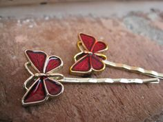 Vintage Red Butterfly Bobby Pins  Bridal Jewelry by TreeTownPaper, $8.00