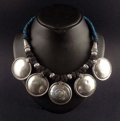 Silver old rajasthan pendants necklace - indian jewelry - rajasthani jewellery - ethnic jewellery - tribal jewelry