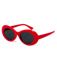 92ed32cd4 Bold Retro Oval Mod Thick Frame Sunglasses Clout Goggles with Round Lens -  Red - C1186739Z6U