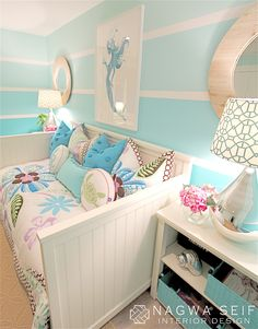 Mermaid Bedroom for craft room. I already have the day bed!) Mermaid Bedroom for craft room. I already have the day bed! My New Room, My Room, Bedroom Themes, Tween Bedroom Ideas, Childrens Bedroom, Kid Bedrooms, Coastal Bedrooms, Bedroom Colors, Nursery Ideas