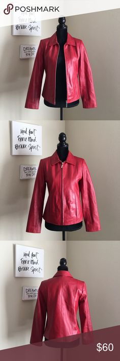 """Juliet Michelle Red Genuine Lamb Leather Jacket VERY NICE leather jacket in near new condition. You can tell it is great quality just by holding it. Zipper works amazing. Dirt easily comes off of the leather with a damp rag. Vibrant red color that will upgrade your outfit instantly! Size Small. Only issue is one mini scuff near the back of the neck (its pictured) that I had to look hard for and one that I almost missed on the cuff seam. Armpit to Armpit: 35"""". Waist: 33"""". Armpit to Wrist…"""