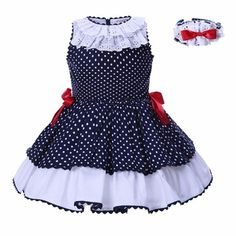 Pettigirl Baby Dresses For girls summer Clothes Navy blue Dots With Headwear Kids Princess Dress G-DMGD004-B25