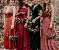 25 Beautiful mismatched bridesmaid dresses for a significant day bridesmaid dress inspiration bridesmaiddress longbridesmaiddress - wilhelmina. Velvet Bridesmaid Dresses, Fall Wedding Bridesmaids, Bridesmaid Dresses Under 100, Mismatched Bridesmaid Dresses, Fall Wedding Dresses, Wedding Gowns, Jewel Tone Bridesmaid, Fall Wedding Attire, Bohemian Bridesmaid