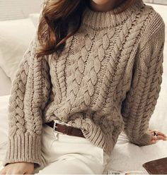 Brief Round Neck Solid Color Long Sleeves Cable-Knit Sweater For Women