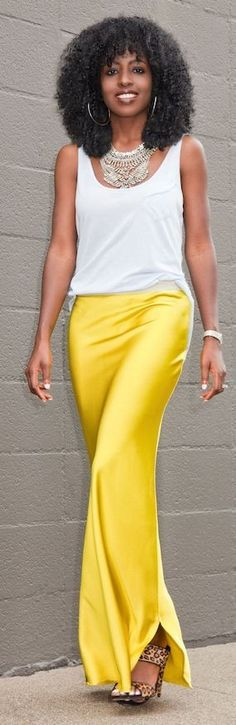 #summer #girly #outfitideas | White Tank + Yellow Silk Maxi Skirt