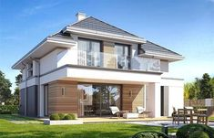 Photograph of the Oshust 2 project – House Design House Plans Mansion, Sims House Plans, House Cladding, Facade House, Modern Bungalow House, Modern House Design, Morden House, House Construction Plan, 2 Storey House Design