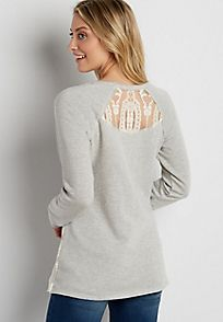 french terry pullover sweatshirt with embroidered mesh overlay