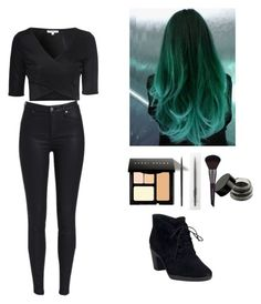 """""""black♡"""" by nourhazem ❤ liked on Polyvore featuring Clarks, Bobbi Brown Cosmetics, MAKE UP FOR EVER and Glamorous"""