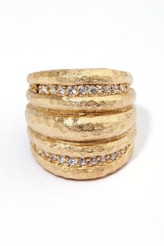 Rivka Friedman | 18K Gold Clad Simulated Diamond East-West Ribbed Dome Ring