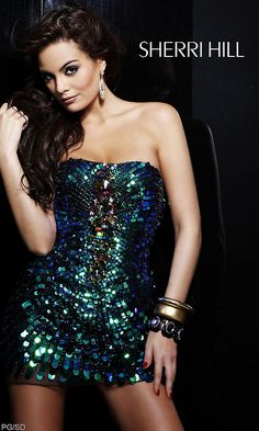 Strapless Multi-Color Sequin Party Dress