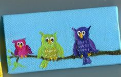 3 Little Owls on branch Original Painting on Canvas mini painting with Easel,  Owl Art, Small Format Art, SFA