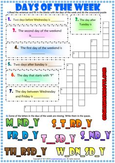 A fun ESL printable exercises worksheet for kids to study and reiview days of the week vocabulary. English Worksheets For Kids, English Lessons For Kids, Esl Lessons, Kids English, Reading Worksheets, Vocabulary Worksheets, Learn English, Vocabulary Games, Free Worksheets