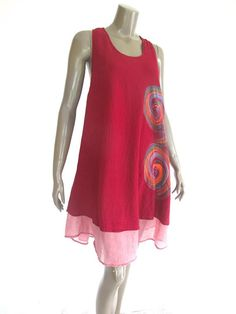 Maroon Red Short sleeveless Cotton Women Dress with by NaniFashion, $44.00