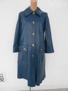 Vintage Bonnie Cashin for Sills Blue Leather Coat with Turn Lock Pockets Sz L XL | eBay