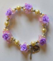 Elastic Lilac Rose Apparition Bracelet. Rosary Bracelet, Rosary Beads, Beaded Bracelets, Lilac Roses, Our Lady Of Lourdes, One Decade, Religious Gifts, Crucifix, Memories
