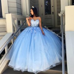 May 2020 - Princess Ball Gown Sweetheart Blue Prom/Evening Dresses with Appliques sold by BeautyLady. Shop more products from BeautyLady on Storenvy, the home of independent small businesses all over the world. Sweet 15 Dresses, Cute Prom Dresses, Tulle Prom Dress, Pretty Dresses, Beautiful Dresses, Sweet Sixteen Dresses, Pageant Dresses, Dress Lace, Bridesmaid Dresses