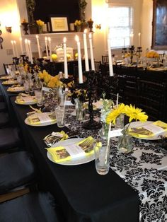 Black, White and Yellow Table decor