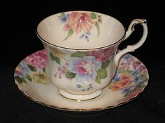 """Royal Albert's """"Beatrice"""", which I enjoy in china mugs"""