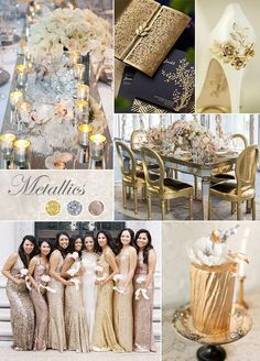 No matter the season or the time of day, you'll love the shine that touches of gold and silver bring to your big day. #WeddingColor: