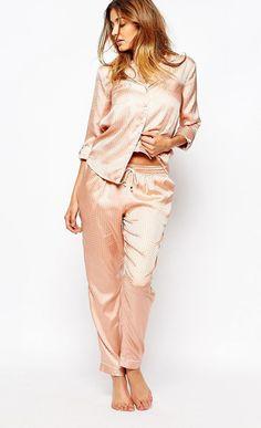 River Island Jacquard Pajama Trousers and Pajama Shirt