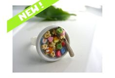 Wish | Lucky Charms Breakfast Cereal RING - Miniature Food Polymer Clay Jewelry Kitsch Cute Kawaii