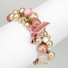 CHANEL Pink Faux Pearl Beaded Charm Bow Bracelet AC804