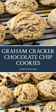 These delicious Graham Cracker Chocolate Chip Cookies just might become your go-to chocolate chip cookie recipe from now on. These delicious Graham Cracker Chocolate Chip Cookies just might become your go-to chocolate chip cookie recipe from now on. Chip Cookie Recipe, Best Cookie Recipes, Baking Recipes, Brownie Recipes, Graham Cracker Cookies, Chocolate Graham Crackers, Graham Cracker Dessert, Graham Cracker Crumbs, Köstliche Desserts