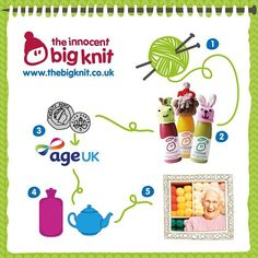 How joining in with the innocent Big Knit helps look after older people in the UK 1. Nice people give up their time to knit us hats. 2. Which go on our smoothie bottles 3. And for every one sold we donate 25p to Age UK 4. Who spend it on things like blankets, hot water bottles, hot meals and social gatherings 5. Which keep older people warm, safe and well this winter. Every year, 24,000 older people die needlessly because of the cold - your little hats make a big difference…