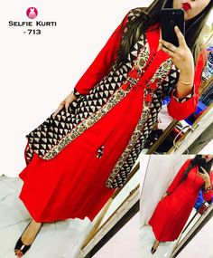 Red And Black Jacket, Girls Kurti, Punjabi Dress, Pakistani Dresses, Kurti Styles, Jacket Style Kurti, Jacket Dress, Stylish Outfits, Fashion Outfits