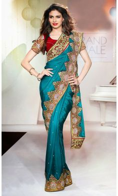 Exquisite Cyan Blue Embroidered Saree #SareesforWomen #BollywoodSarees