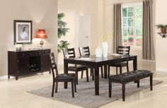 Friendship Series Pub Dining room set with the bench & wine server