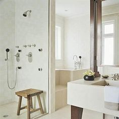 Bathroom with Japanese Influence - note the tall, deep tub at center! Add a shower door!