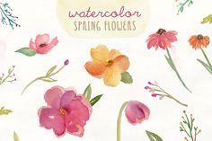 Watercolor Spring Flowers by Angie Makes on Creative Market