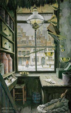 Old Boshuizen shop in Amersfoort, 1985 - Grocery Store on 't Havik, Amersfoort, 1986 by 'Anton' Franciscus Pieck (Dutch Window View, Window Art, Anton Pieck, Edmund Dulac, Image 3d, Dutch Painters, Dutch Artists, 3d Prints, Through The Window