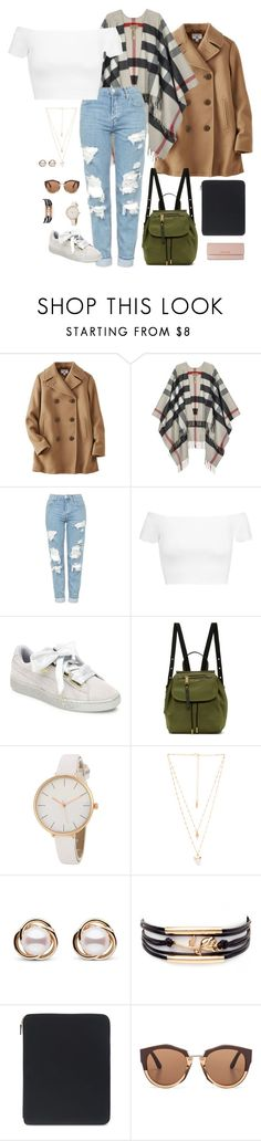 """save me (outfit 1)"" by kierstin518 on Polyvore featuring Uniqlo, Burberry, Topshop, Alice + Olivia, Puma, Marc Jacobs, Natalie B, Trilogy, Smythson and Marni"