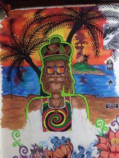 Atardecer en la playa arte mural